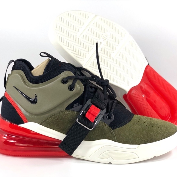 Nike Air Force 270 Medium Olive Green Black Red NWT